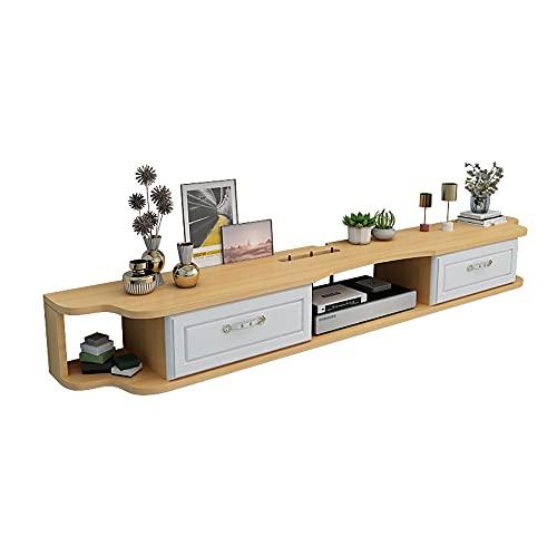 Mueble de TV Mesa Flotante,Unidad de TV Flotante Madera Maciza, Unidad de pared para TV Apartamento PequeñO para Sala de Estar Dormitorio/A / 120cm