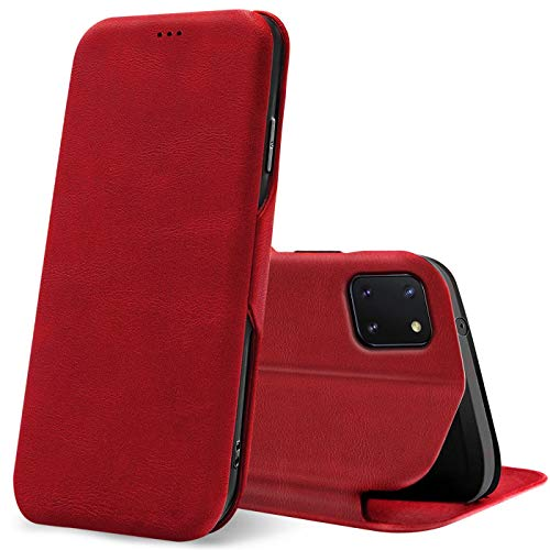 Verco Handyhülle für Samsung Note 10 Lite, Bookstyle Premium Handy Flip Cover für Samsung Galaxy Note 10 Lite Hülle [integr. Magnet] Book Hülle PU Leder Tasche, Rot