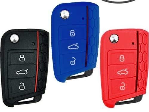 Keycarry - Funda de silicona para llave de coche (3unidades), accesorio universal para Volkswagen VW Golf 7Mk7, Škoda Octavia 3o A7
