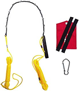 Hand Chain Saw for High Limb Tree Branch, Rope and Chain Saw with Blade Sharpener, Ropes, Throwing Weight Pouch Bag (Yellow-48