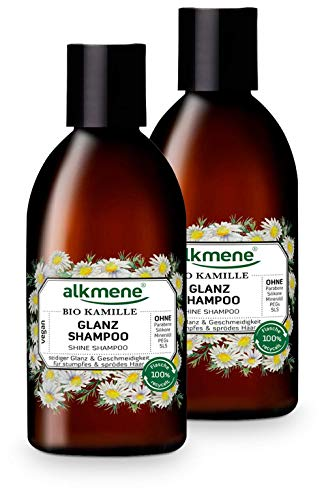 alkmene Glanz Shampoo mit Bio Kamille - Haarshampoo für stumpfes & sprödes Haar - veganes Shampoo ohne Silikon, Parabene, Mineralöl, SLS & SLES - Haarpflege im 2er Vorteilspack (2x 250 ml)