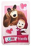 Masha y el oso manta polar 'Funny Friends' 100 x 150 cm para niños, manta de peluche con Oeko Tex Standard 100