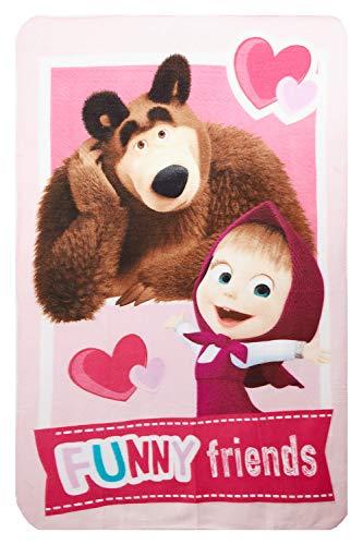 Masha e Orso Funny Friends - Coperta in pile per bambini, 100 x 150 cm, con certificazione Öko Tex Standard 100