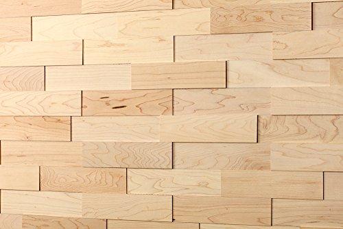 wodewa Wandverkleidung Holz 3D Optik Ahorn 1m² Wandpaneele Moderne Wanddekoration Holzverkleidung Holzwand Wohnzimmer Küche Schlafzimmer Geölt