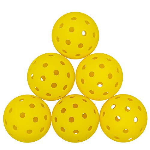 ZOEA Pickleball Balls Outdoor with 40 Small Precisely Drilled Holes Durable and Consistent Bounce Outdoor Picklebal Balls 6 Pack Yellow