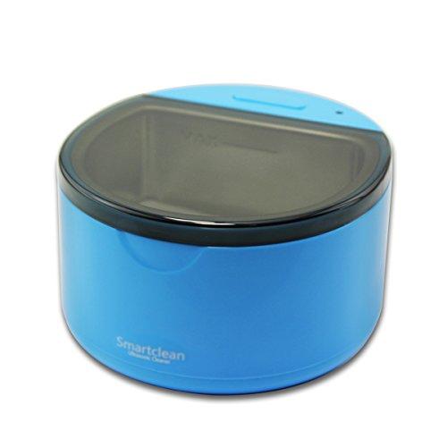 Grinigh 360°Nettoyeur de Dentier Nettoyant à Ultra-sons Appareil de Nettoyage pour Dentaire Bracelet de Montre Bijoux Pièce de Monnaie Efficacité Professionnelle Bleu