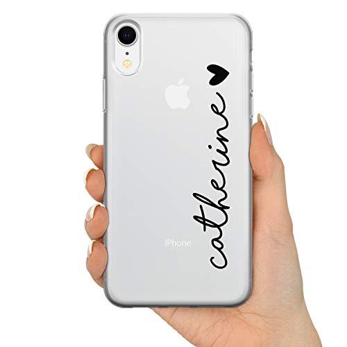 TULLUN - Cover in plastica rigida trasparente con nome e cuore, per modelli iPhone iPhone 7 plus / 8 plus Black Name & Heart