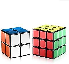 ROXENDA Cubos de Velocidad, Speed Cube Set Qiyi de 2x2 3x3 Cube, Fácil de Tornear y Liso Jugar, Cubo de Velocidad para Principiantes y Pro