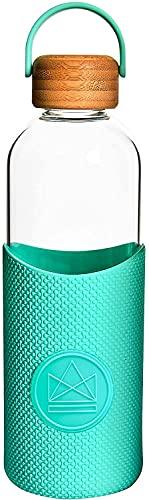 Mantimes Botellas de agua de cristal de 1 litro para deportes al aire libre, deportes, fitness y gimnasio botella de agua (espíritu libre)