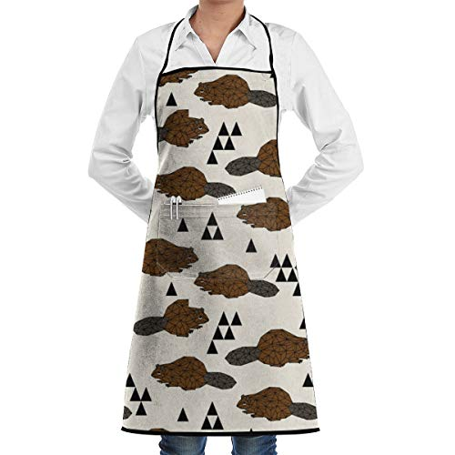 Geo Beaver Brown Grill Aprons Kitchen Chef Bib BBQ, Baking, Cooking for Men Women / 100% Cotton, Adjustable 2 Pockets 28 X 20 Inch