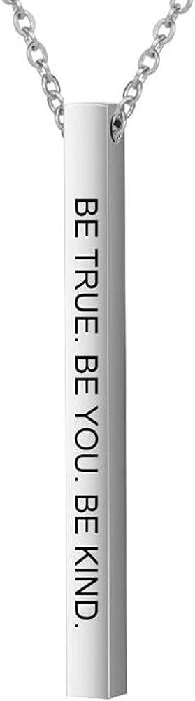 Stainless Steel Vertical Long Bar Inspiration Encouragement Mantra Collar Charm Pendant Satement Necklace