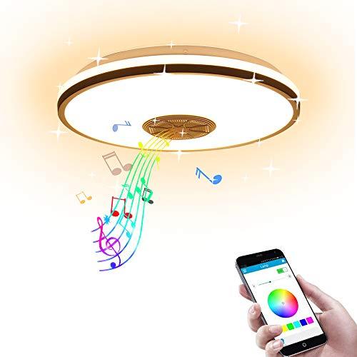 AEUWIER Luces de techo con música, lámpara de techo de montaje empotrado regulable con altavoz Bluetooth y control remoto / de aplicación, luces de estrella de fiesta familiar RGB