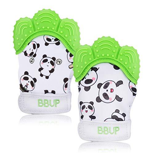Welltop Baby dentición Manoplas, paquete de 2 guantes de mordedor de silicona de grado alimenticio, juguete de mordedor lavable para niños y niñas de 3 meses