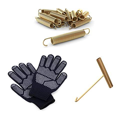 Ampel 24 Trampolin Ersatzfeder-Set bestehend aus 24 Federn, Länge Zugfeder ca. 178 mm sowie EIN Federspanner und EIN Paar Handschuhe