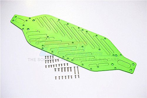 Traxxas XO-01 Supercar Upgrade Pièces Aluminium 4mm Main Chassis with Stainless Steel Screws - 1 Set Green