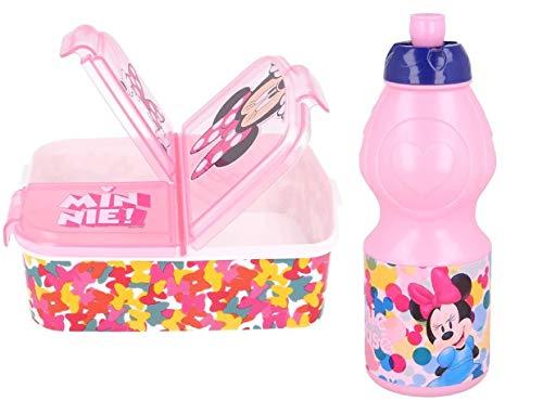 Set Botella de Agua plastico Infantil 400ml- y Fiambrera con 3 Compartimentos para Colocar los almuerzos - para niñas, cantimplora a Prueba de Fugas sin BPA 400ml