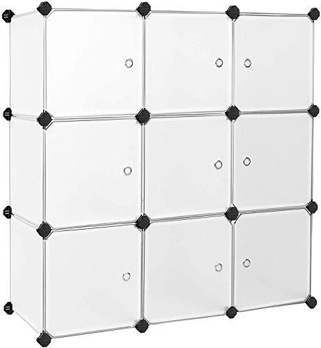NLRHH 15 Cube Modular Schuhregal Metalldraht-Grid DIY Speichereinheit Interlocking Schuh-Organisator for den Schrank Flur Schlafzimmer ist mit Gummihammer und Anti-Kipp-Straps Schwarz (Color : White)