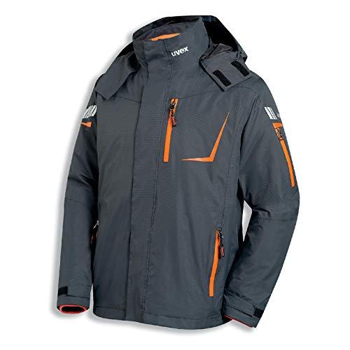 Uvex Metal 3-in-1 Herren-Arbeitsjacke - Grau-Orange Männer-Wetterjacke - Atmungsaktiv - Wind- & Wasserdicht L