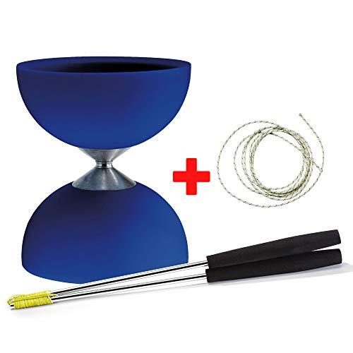 Diabolo Acrobat (blauw) + handsticks aluminium (zwart) + sticker