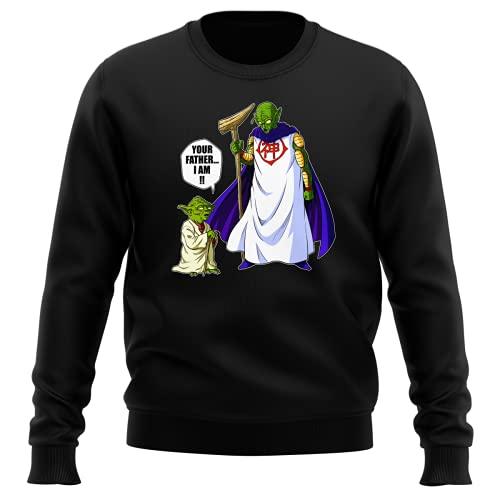 Pull Noir Parodie Dragon Ball Z - Star Wars - Yoda et Le Tout-Puissant - Your Father I am ! (Sweatshirt de qualité Premium de Taille M - imprimé en France)