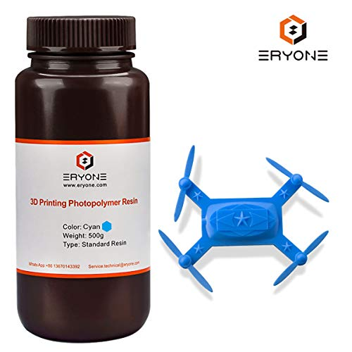 ERYONE 405nm UV Resin for DLP LCD 3D Printer Photopolymer Translucent, Ultralow Odor High Precision Can Mix, 0.5 kg Cyan