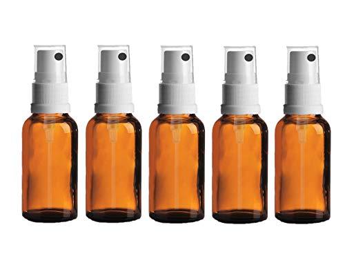 LOT de 5 - Flacons en verre AMBRE 25ml avec spray ATOMISEUR blanc. Utilisation pour les huiles essentielles / et en aromathérapie