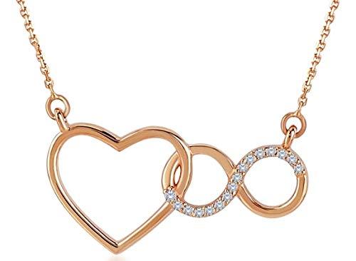 0.04ct in Oro rosa 14ct cuore infinito collana in oro