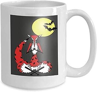 Tasse à café tasse à thé maison renard méditant clair de lune yoga pose nuages violettes 110z