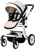 3 en 1 portátil cochecito de bebé antichoque resortes plegable del cochecito de bebé ajustable de alta Ver Cochecito Travel System infantil carro Cochecito for niños, blanco y negro zghzsc