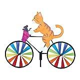 Cute Animal on Bike Windmill Wind Spinner Kids Toy, Dog and Cat Windmills Kites Bike Wind Wheel Windsock Art Stake Animal Wind Wheel Spinner for Outdoor Decoration Patio Lawn Garden Yard Decor (A)