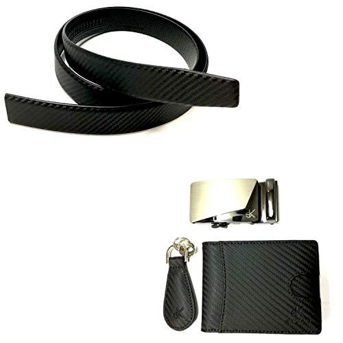 elaKAAN EXCLUSIVE Design Carbon-Look Herren Geschenkset mit Ledergürtel, Geldbörse mit RFID-Schutz, Schnalle und Schlüsselanhänger, für Geburtstag, Vatertag, Weihnachten, Jubiläum