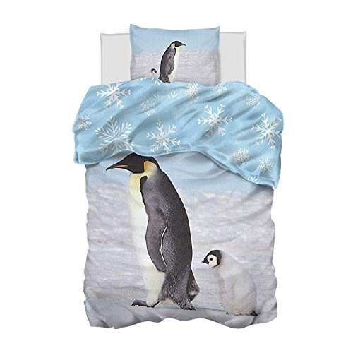 Aminata Kids Biber Pinguin-Bettwäsche 135x200 Kinder Pinguin-Tier-Motiv Tiere Baumwolle YKK Reißverschluss, Kinder-Wende-Biber-Bettwäsche-Set Winter-Motiv, warm, weich & weiß, blau Schnee-Flocken