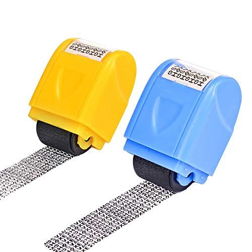 Identitätsdiebstahlschutz-Rollenstempel, 2 Packungen, unbegrenzt nachfüllbar, breiter Rollsicherheits-Stempelroller für Privatsphäre, schützt Ihre ID-Privatsphäre, vertrauliche Daten (gelb, blau)