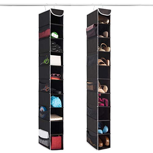 ZOBER 10-Shelf Hanging Shoe Organizer (2 Pack) Hanging Closet Shoe Organizer with Side Mesh Pockets, Space Saving Shoe Holder & Storage, Closet Organizer Great for Shoes, Purses, Handbags Etc.