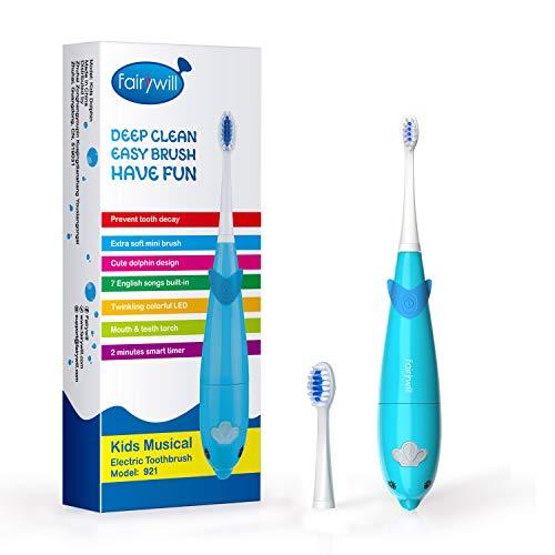 Elektrische Zahnbürste für Kinder Frisch vom Zahnarzt gefühl Super Niedlicher Delphinentwurf mit 7 Populäre Englische Lieder 2 AAA Batterien hält Min 60 Tage Wasserdicht von Fairywill