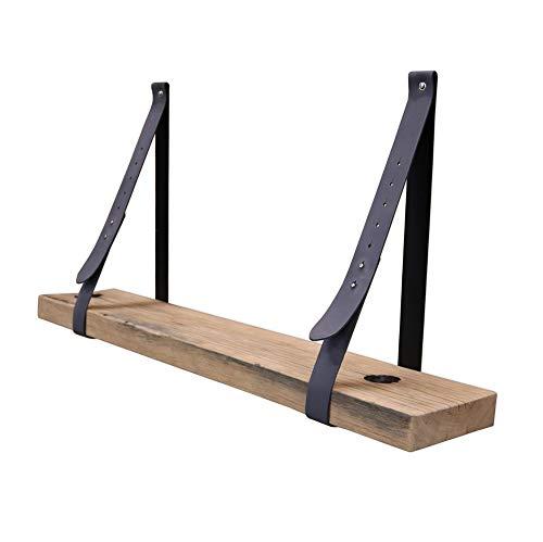 Steigerhoutpassie - Leren plankdrager - Grijs - Verstelbaar - Set - Eiken - Wagondeel Breed Geschaafd - 90cm
