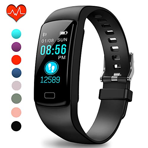 Polywell Fitness-Tracker, Aktivitätstracker mit Herzfrequenz-Monitor und Schlaf-Monitor, Bluetooth, wasserdicht, Schrittzähler und Kalorienzähler