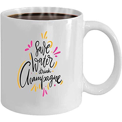 Koffie Mok - Mokken Thee Cup Bespaar Water Drink Champagne Phrase Hand getrokken Vector Lettering Geïsoleerd Op Achtergrond