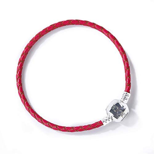 GNOCE Damen Armband Leder geflochten Lederarmband geflochten mit Verschluss Geschenk für Herren Mädchen Kinder (Rot, 20)