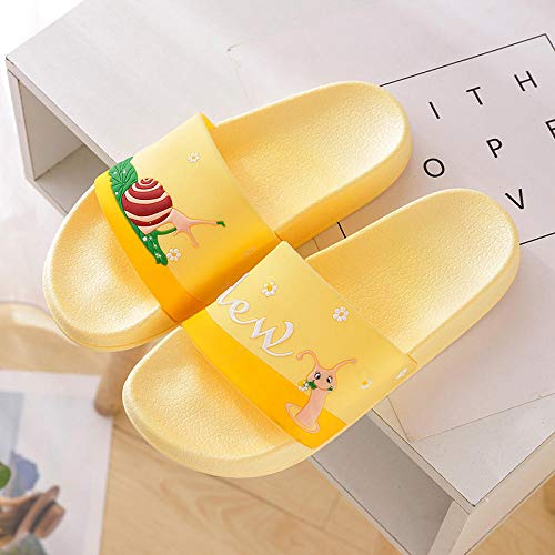 Bath Sandal,Summer bathroom non-slip slippers,bath shower slippers,cartoon snail sandals,yellow,39,Slide Adult Beach Pool Shoes