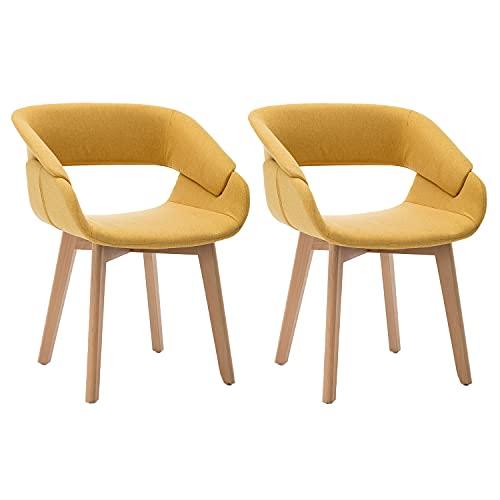 Truker Sillas de comedor tapizadas Sillón de lino de mediados de siglo moderno sillas de salón silla de maquillaje sillas laterales con patas de metal, juego de 2 unidades, amarillo