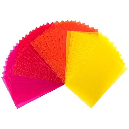 40 Transparentpapiere, 10cm x 15cm, 130 g/m² | buntes Papier zum Basteln, Scrapbooking, Kartengestaltung, DIY u.v.m. (Gelb, Rot & Orange)