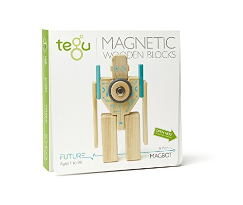 Tegu Magbot Magnetic Wooden Block Set, Electric Aqua