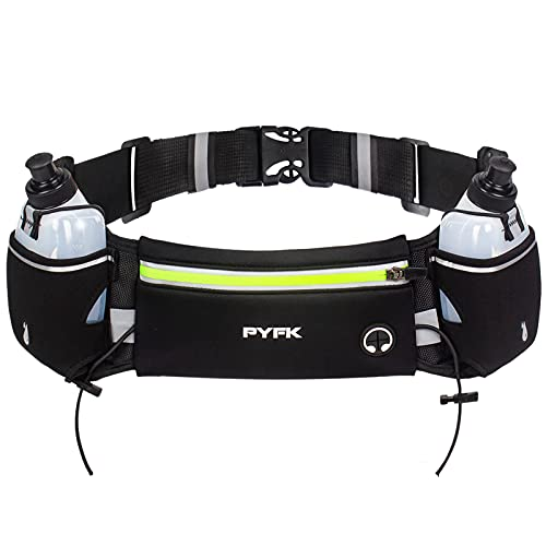 PYFK Upgraded Running Belt with Water Bottles, Hydration Belt for Men and Women, Water Bottle Holder Running Pouch Belt, Fanny Pack Fits 6.5 inches Phones, Waist pack for Running Hiking (Green)