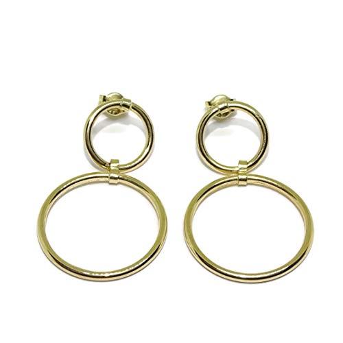 Pendientes doble aro oro amarillo 18k con cierre presión. 1.20cm de diámetro y 2.00cm de diámetro. 1.60gr de oro de 18k
