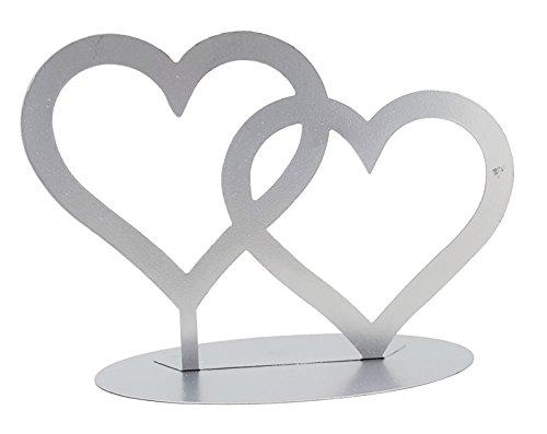 RS Dekoration Doppelherz Metall Silber, ca. 20 x 14 cm