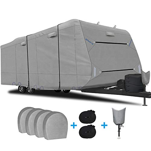 "RVMasking Upgraded 6 Layers Top Travel Trailer RV Cover Waterproof Camper Cover for 31'7"" - 34' RV - Prevent Top Tearing Caused by Sun Exposure with 4 Tire Covers 2 Straps, Tongue Jack Cover"