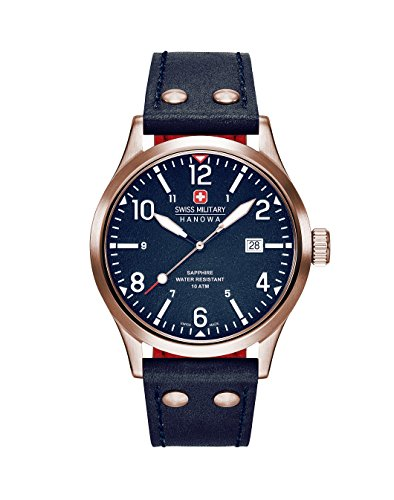 Swiss Military Hanowa Herren Analog Quarz Uhr mit Leder Armband 06-4280.09.003CH