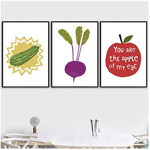 AdoDecor CKunstoon Apfel Gemüse Poster und Drucke Wandkunst Leinwand Malerei Wandbild für Wohnzimmer Küche Dekor 40x60cmx3 kein Rahmen