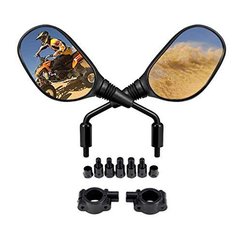 Motobiker ATV and Motorcycle Rear View Mirrors -360 Degrees Ball-Type Adjustment-with 8mm 10mm Threaded Bolt , 7/8' Handle Bar Mount Clamp for Polaris, Honda,Yamaha, Kawasaki, Suzuki, Snowmobile
